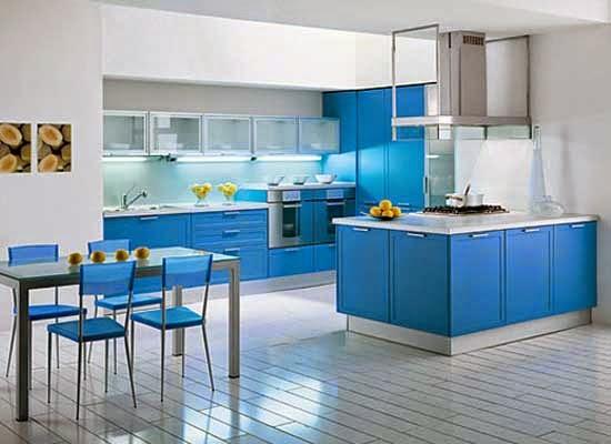 Biru untuk Nuansa Dapur Tenang dan Ceria